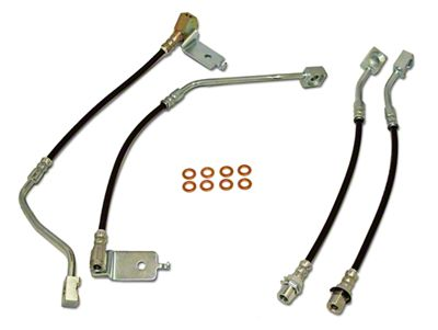 J&M Clear Outer Coating Stainless Steel Telfon Brake Lines - Front & Rear (96-98 GT)