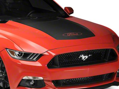 Matte Black Hood Decal w/ Ford Logo (15-17 GT, EcoBoost, V6)