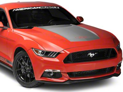 Silver Hood Decal w/ Ford Logo (15-17 GT, EcoBoost, V6)