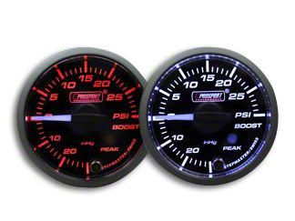 Prosport Dual Color Premium White Pointer Boost Gauge - Amber/White (79-19 All)