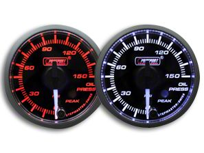 Prosport Dual Color Premium White Pointer Oil Pressure Gauge - Amber/White (79-19 All)