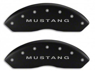 MGP Matte Black Caliper Covers w/ Tri-Bar Pony Logo - Front & Rear (94-04 Cobra, Bullitt, Mach 1)