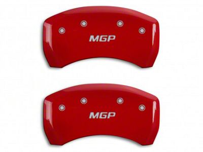 MGP Red Caliper Covers w/ MGP Logo - Rear Only (05-14 GT, BOSS 302, GT500)