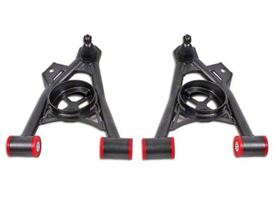 BMR Non-Adjustable Front Lower Spring Pocket A-Arms - Poly Bushing - Standard Ball Joint - Hammertone (94-04 All)