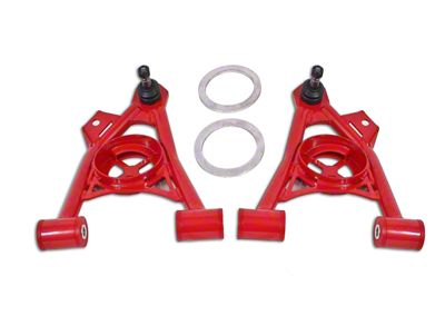 BMR Non-Adjustable Front Lower Spring Pocket A-Arms - Poly Bushing - Tall Ball Joint - Red (94-04 All)