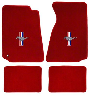 Lloyd Front & Rear Floor Mats w/ Tri-Bar Pony Logo - Red (94-98 Coupe)