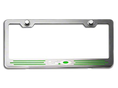 License Plate Frame w/ 5.0 Logo - Green Carbon Fiber Inlay (79-19 All)