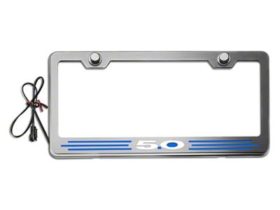 Illuminated License Plate Frame w/ 5.0 Logo - Blue Inlay (79-19 All)