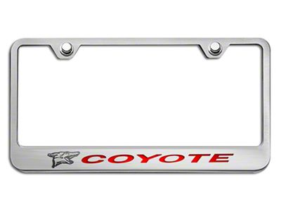 License Plate Frame w/ Coyote Logo - Solid Bright Red Inlay (79-19 All)