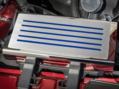 Polished/Brushed Fuse Box Cover - Solid Ford Blue Inlay (15-19 All)