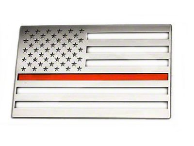 Stainless Steel American Flag Emblem - Polished w/ Thin Red Line (79-19 All)