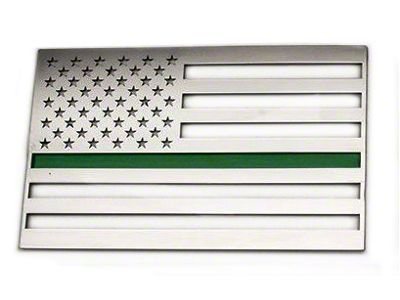 Stainless Steel American Flag Emblem - Polished w/ Thin Green Line (79-19 All)