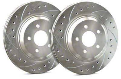 SP Performance Cross-Drilled & Slotted Rotors w/ Silver Zinc Plating - Front Pair (15-19 Standard EcoBoost, V6)