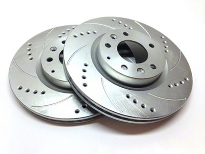 SP Performance Cross-Drilled & Slotted Rotors w/ Silver Zinc Plating - Front Pair (15-19 Standard GT, EcoBoost w/ Performance Pack)