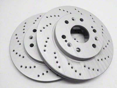 SP Performance Cross-Drilled Rotors w/ Gray ZRC - Rear Pair (15-19 GT, EcoBoost)