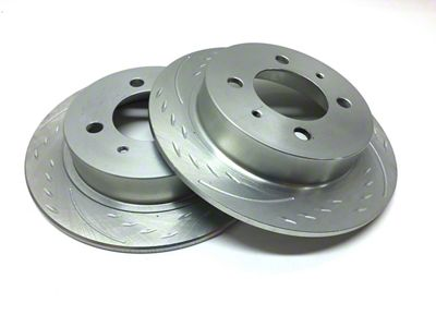 SP Performance Diamond Slot Rotors w/ Silver Zinc Plating - Front Pair (15-19 Standard GT, EcoBoost w/ Performance Pack)