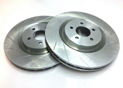 SP Performance Slotted Rotors w/ Silver Zinc Plating - Rear Pair (15-19 GT, EcoBoost)