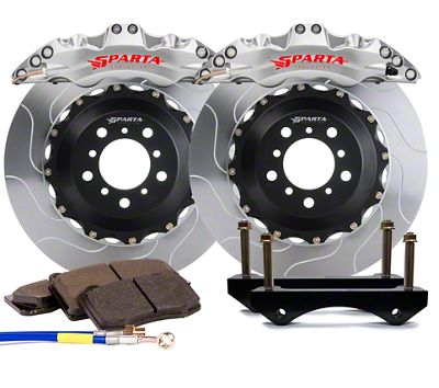 Sparta Evolution Triton Front Big Brake Kit w/ Castellated Pistons - Machined Silver (05-14 All)