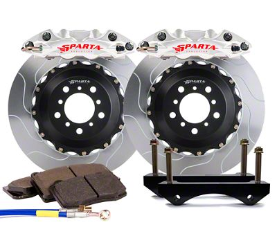 Sparta Evolution Triton-R Front Big Brake Kit w/ Castellated Pistons - Machined Silver (05-14 All)