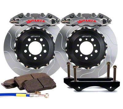 Sparta Evolution Triton-R Front Big Brake Kit w/ Castellated Pistons - Stealth Gray (05-14 All)