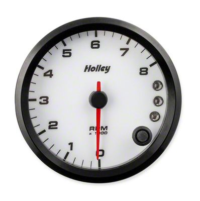 Holley Performance 3-3/8 in. Analog-Style 0-8K Tachometer - White (79-19 All)