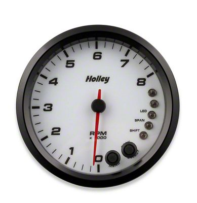 Holley Performance 4.5 in. Analog-Style 0-8K Tachometer - White (79-19 All)