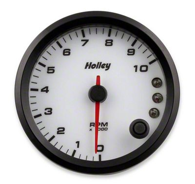Holley Performance 3-3/8 in. Analog-Style 0-10K Tachometer - White (79-19 All)