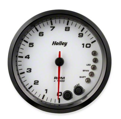Holley Performance 4.5 in. Analog-Style 0-10K Tachometer - White (79-19 All)