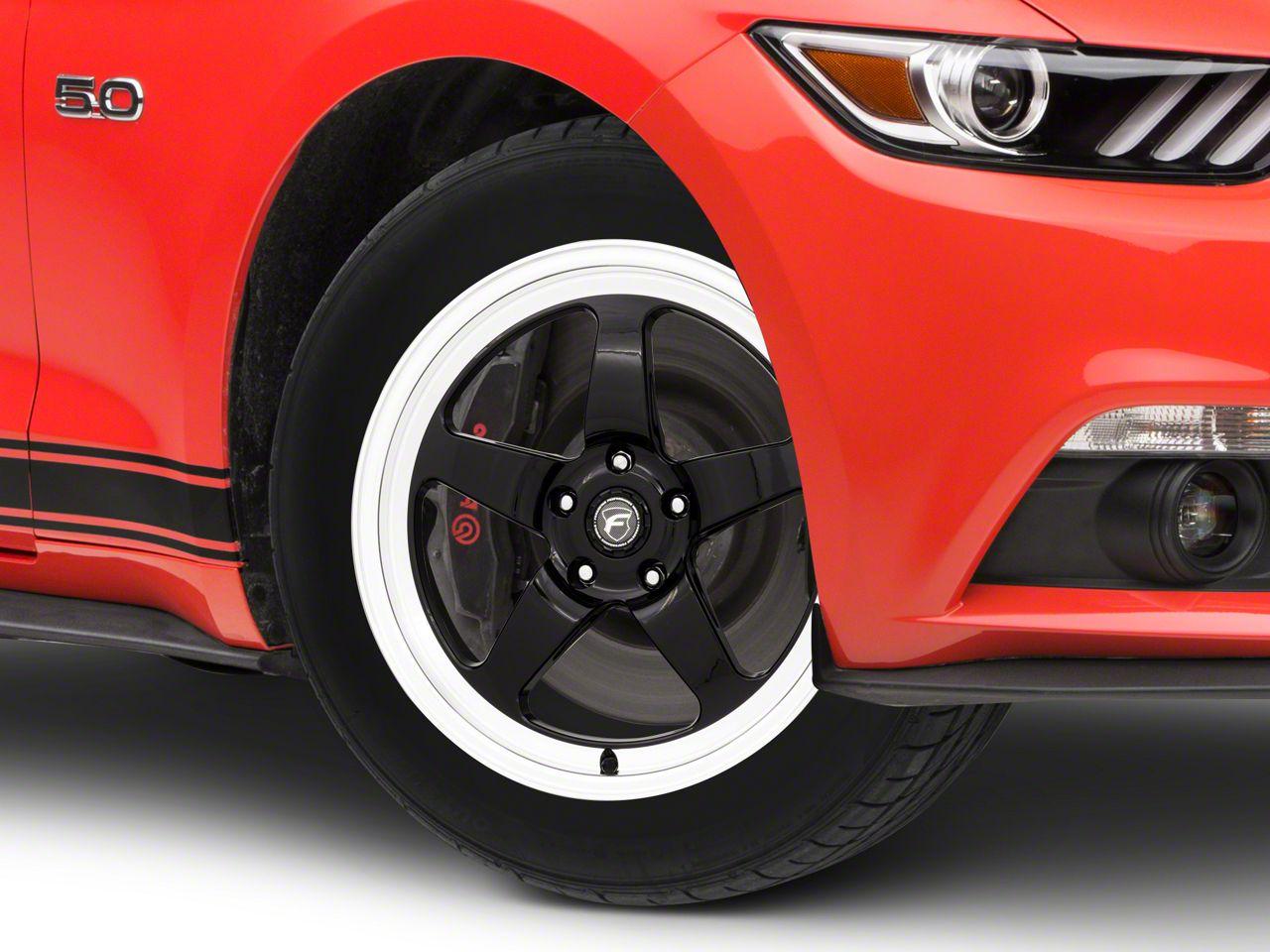 Forgestar D5 Drag Black Machined Wheel - 18x5 - Front Only (15-19 GT, EcoBoost, V6)