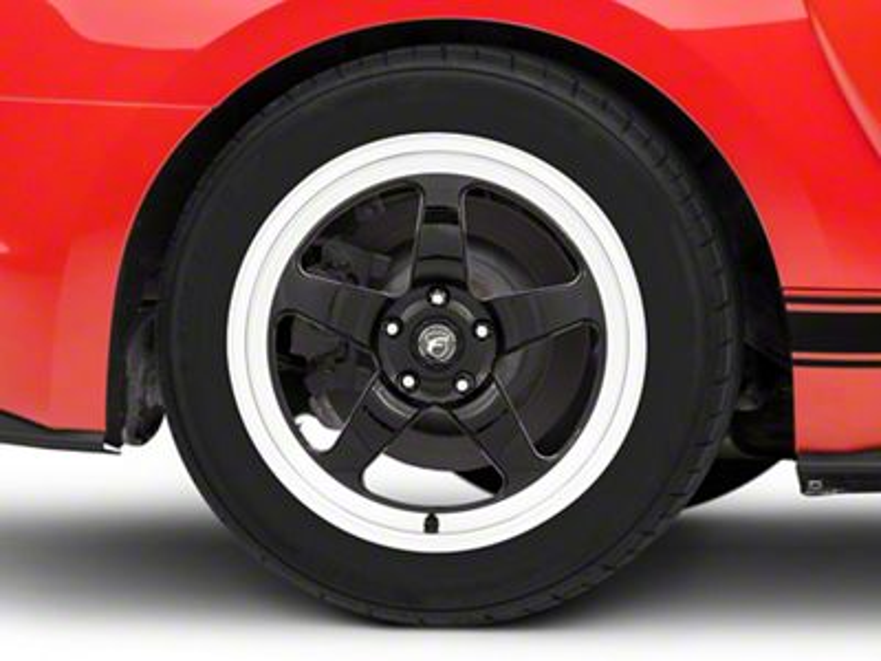 Forgestar D5 Drag Black Machined Wheel - 18x10 - Rear Only (15-19 GT, EcoBoost, V6)