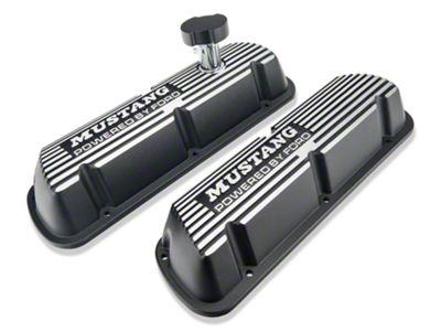Ford Performance Black Valve Covers w/ Mustang Logo (86-93 5.0L)