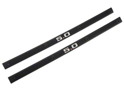OPR Black Door Sill Plates - 5.0 Emblem (79-93 All)