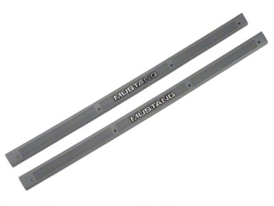 OPR Smoke Gray Door Sill Plates - Mustang Lettering (87-89 All)