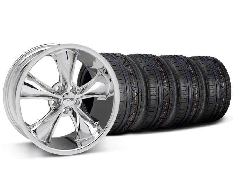 Staggered Foose Legend Chrome Wheel & NITTO INVO Tire Kit - 18x8.5/9.5 (05-10 GT, V6)
