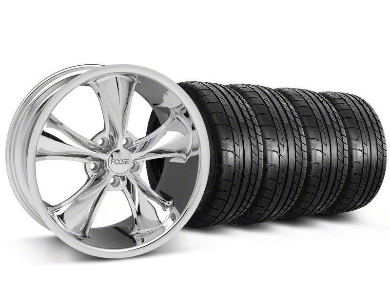 Staggered Foose Legend Chrome Wheel & Mickey Thompson Tire Kit - 18x8.5/9.5 (05-10 GT, V6)