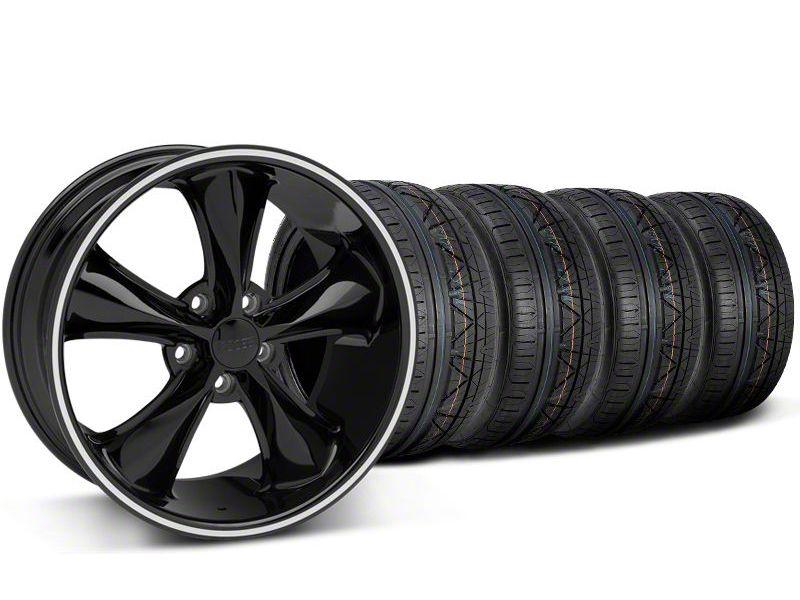 Staggered Foose Legend Black Wheel & NITTO INVO Tire Kit - 20x8.5/10 (05-14 GT, V6)