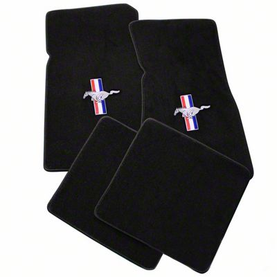 Lloyd Front & Rear Floor Mats w/ Tri-Bar Pony Logo - Black (79-93 All)