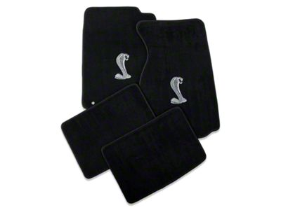 Lloyd Front & Rear Floor Mats w/ Cobra Logo - Black (94-98 Coupe)
