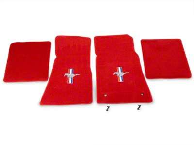 Lloyd Front & Rear Floor Mats w/ Tri-Bar Pony Logo - Red (79-93 All)