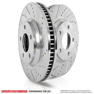 Power Stop Evolution Cross-Drilled & Slotted Rotors - Rear Pair (09-10 SE; 2011-19 SE, SXT w/ Single Piston Front Calipers)