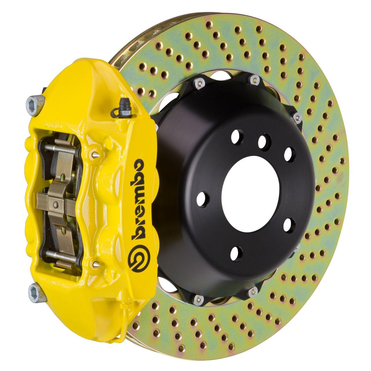 Brembo GT Series 4-Piston Rear Big Brake Kit - 15 in. 2-Piece Cross-Drilled Rotors - Yellow (08-14 SRT8)