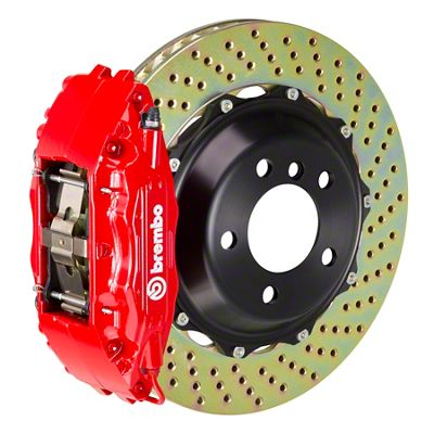 Brembo GT Series 4-Piston Front Big Brake Kit - 14 in. 2-Piece Cross-Drilled Rotors - Red (09-10 R/T, SE)