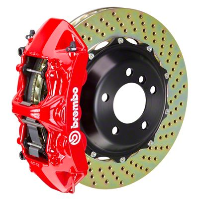 Brembo GT Series 6-Piston Front Big Brake Kit - 14 in. 2-Piece Cross-Drilled Rotors - Red (11-19 All, Excluding SRT8)