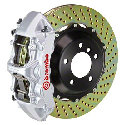 Brembo GT Series 6-Piston Front Big Brake Kit - 14 in. 2-Piece Cross-Drilled Rotors - Silver (11-19 All, Excluding SRT8)
