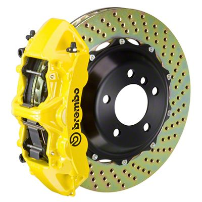 Brembo GT Series 6-Piston Front Big Brake Kit - 14 in. 2-Piece Cross-Drilled Rotors - Yellow (11-19 All, Excluding SRT8)