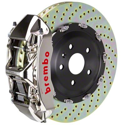 Brembo GT-R Series 6-Piston Front Big Brake Kit - 14 in. 2-Piece Cross-Drilled Rotors - Nickel Plated (11-18 All, Excluding SRT8)