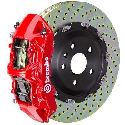 Brembo GT Series 6-Piston Front Big Brake Kit - 15 in. 2-Piece Cross-Drilled Rotors - Red (11-19 V8 HEMI, Excluding SRT8)