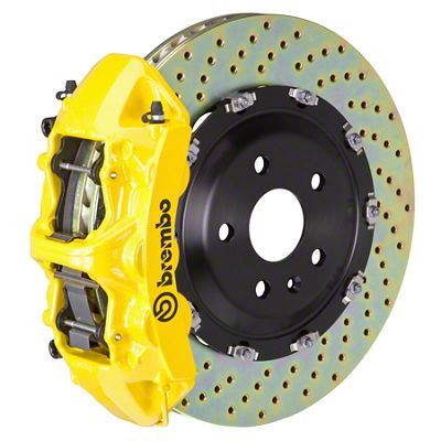 Brembo GT Series 6-Piston Front Big Brake Kit - 15 in. 2-Piece Cross-Drilled Rotors - Yellow (11-19 V8 HEMI, Excluding SRT8)