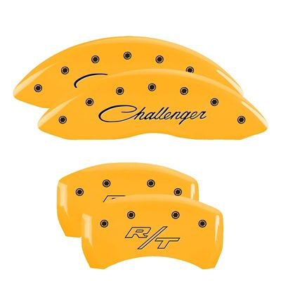 MGP Yellow Caliper Covers w/ Cursive Challenger & R/T Logos - Front & Rear (2011 SE; 12-19 SXT w/ Single Piston Front Caliper)