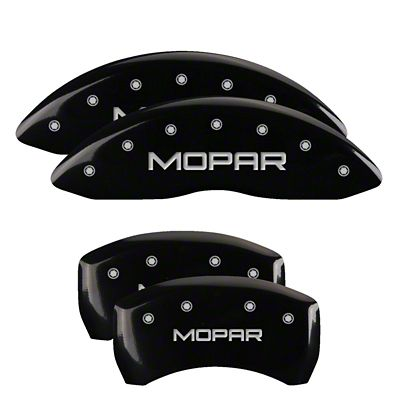 MGP Black Caliper Covers w/ MOPAR Logo - Front & Rear (2011 SE; 12-18 SXT w/ Single Piston Front Caliper)